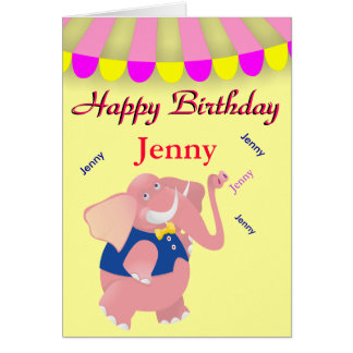 Elephant Dancing Name Circus Birthday Card