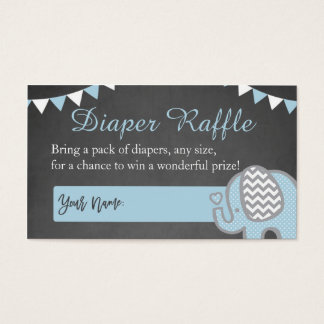 Elephant Diaper Raffle Cards for a Boy