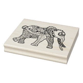 Elephant Doodle Rubber Stamp