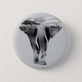 Elephant - double exposure art 2 inch round button