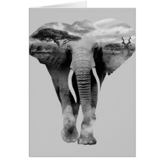 Elephant - double exposure art card