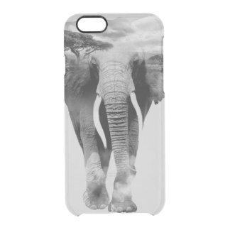 Elephant - double exposure art clear iPhone 6/6S case
