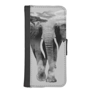 Elephant - double exposure art iPhone SE/5/5s wallet case