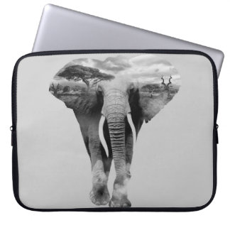 Elephant - double exposure art laptop sleeve
