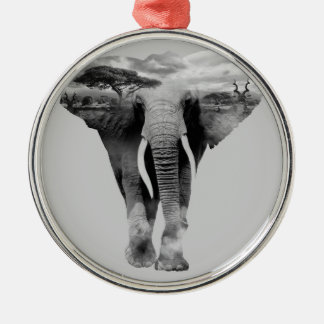 Elephant - double exposure art metal ornament
