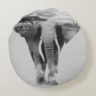 Elephant - double exposure art round pillow