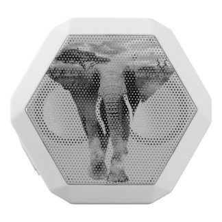 Elephant - double exposure art white bluetooth speaker