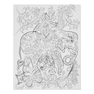 Elephant drawing adult colouring poster