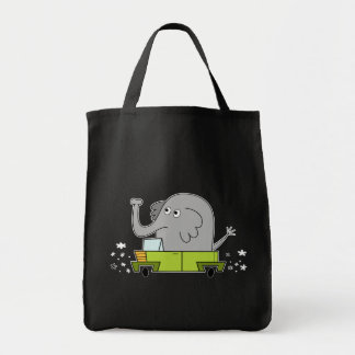 Elephant Driving a Car - Grocery Tote