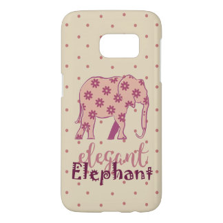 Elephant Elegant Floral Silhouette Polka Dots Pink Samsung Galaxy S7 Case
