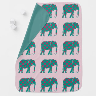 Elephant Elegant Silhouette Floral Turquoise Pink Baby Blanket