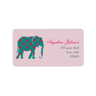 Elephant Elegant Silhouette Floral Turquoise Pink Label