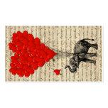 Éléphant et ballons en forme de coeur carte de visite standard