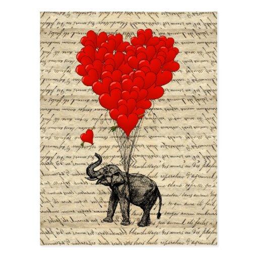 Éléphant et ballons en forme de coeur cartes postales