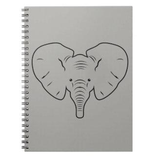 Elephant face silhouette notebook