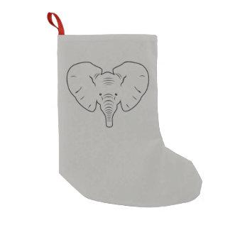 Elephant face silhouette small christmas stocking