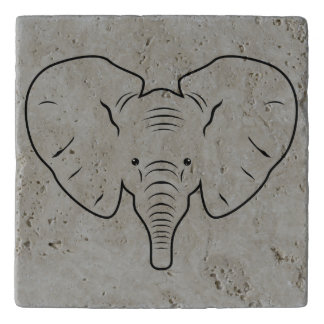 Elephant face silhouette trivet