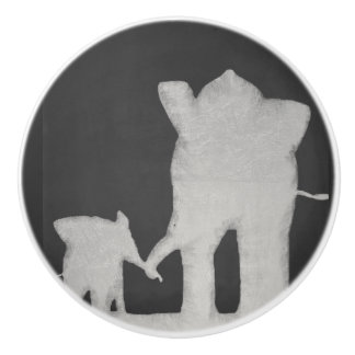 Elephant Family Chalkboard Ceramic Knob