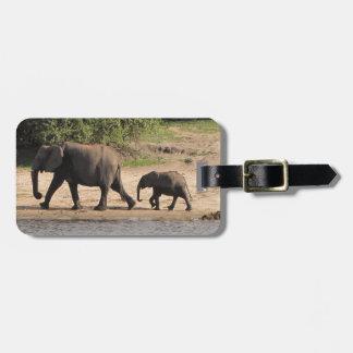 Elephant family luggage tag