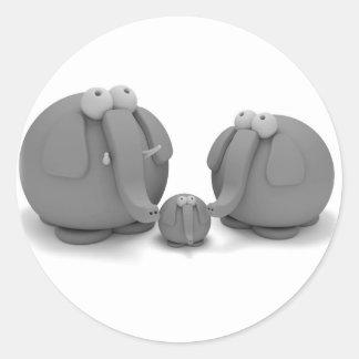 Elephant family round sticker