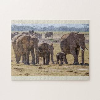 Elephant Family Walking Jigsaw Puzzle