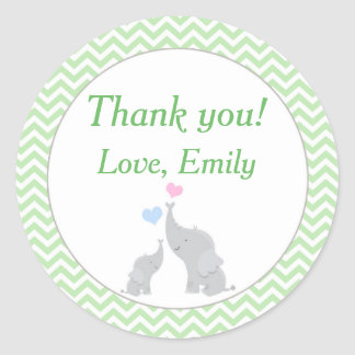 Elephant Favor Label Mint Green Unisex Baby Shower Round Sticker