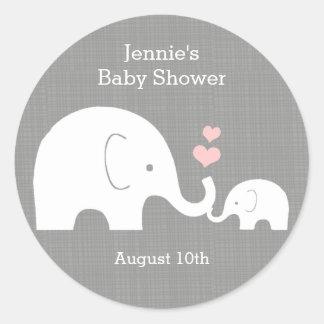 Elephant Favor Tag, Little Peanut Pink Heart Round Sticker