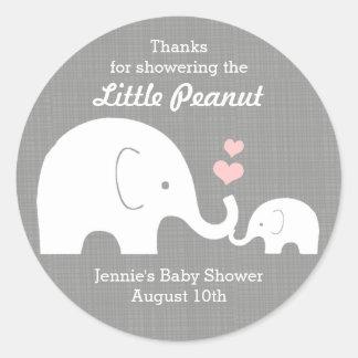 Elephant Favor Tag, Little Peanut Pink Hearts Round Sticker