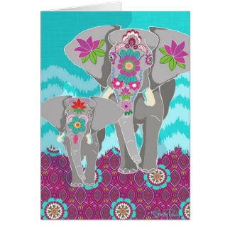 Elephant Festival Blank Greeting Card