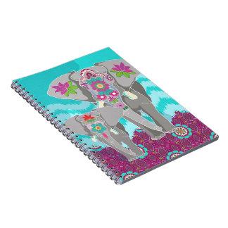 Elephant Festival Notebook - turquoise Ikat