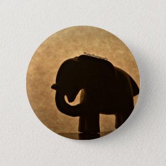 Elephant Figurine Silhouette Button