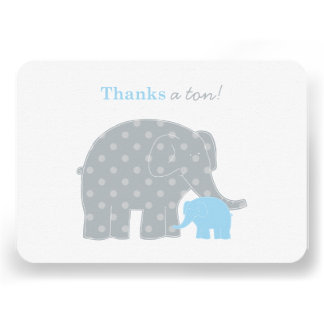 Elephant Flat Thank You Note Card Blue and Gray