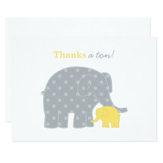 Elephant Flat Thank You Notes | Yellow and Gray Card
