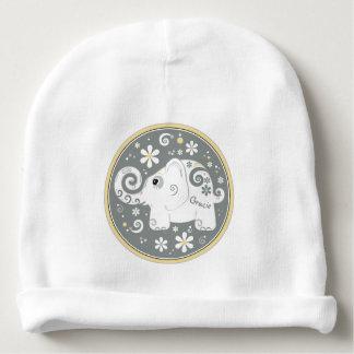 Elephant Floral Daisy Yellow Grey White Baby Beanie