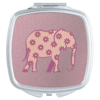 Elephant Floral Pink Silhouette Elegant Stylish Mirrors For Makeup