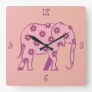 Elephant Floral Pink Silhouette Elegant Stylish Square Wall Clock