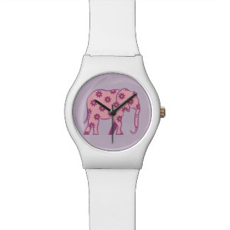 Elephant Floral Pink Silhouette Elegant Stylish Watch
