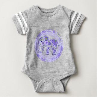 Elephant Flowers Purple Baby Bodysuit