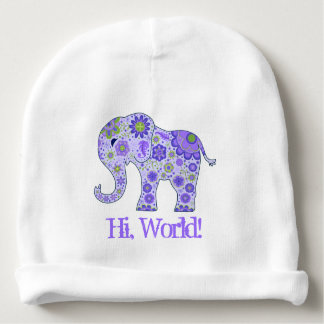 "Elephant Flowers Purple ""Hi, World!"" Baby Beanie"