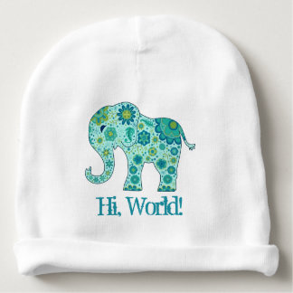 "Elephant Flowers Teal ""Hi, World!"" Baby Beanie"