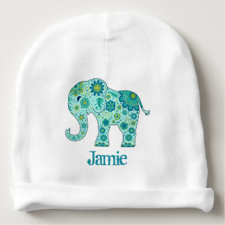 Elephant Flowers Teal Name Template Baby Beanie