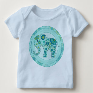 Elephant Flowers Teal OUT OF STOCK Baby T-Shirt