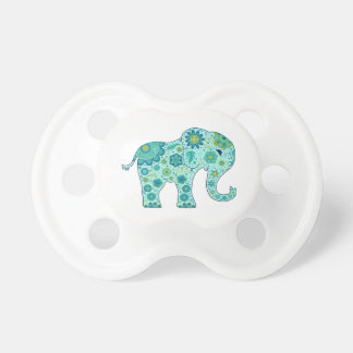 Elephant Flowers Teal Pacifier