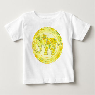 Elephant Flowers Yellow Baby T-Shirt