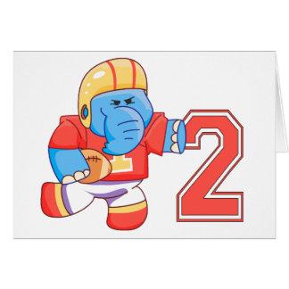 Elephant Football 2nd Birthday Greeting Card