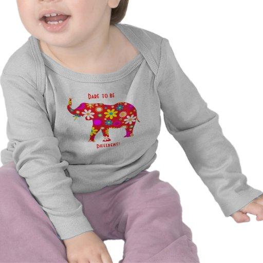 Elephant funky retro floral flower infant t-shirt