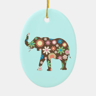 Elephant Funky retro floral flowers colorful cute Ceramic Oval Ornament