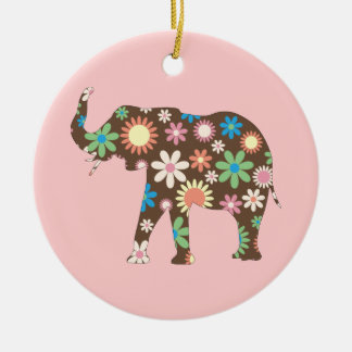 Elephant Funky retro floral flowers colorful cute Round Ceramic Ornament