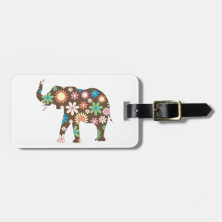 Elephant funky retro floral flowers cute custom luggage tag