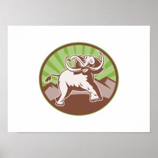 Elephant Giant Tusk Side Retro Circle Print